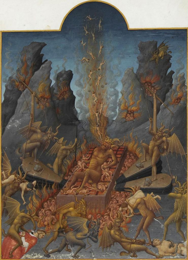 """""""O Inferno"""". Iluminura do livro """"Les Très Riches Heures du duc de Berry"""" (Atualmente conservado no museu Condé, em Chantilly)."""