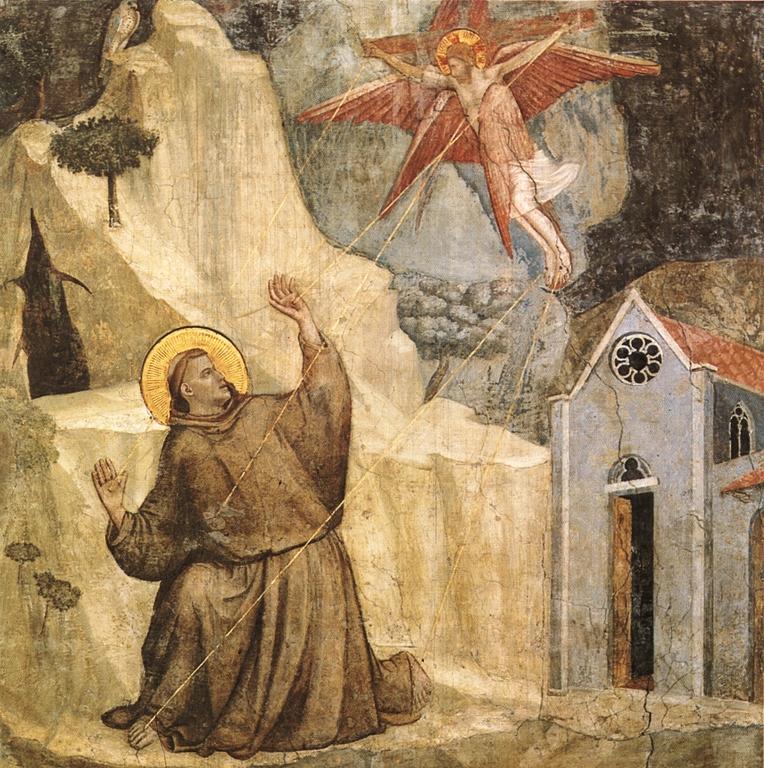 Nesta pintura, São Francisco recebe o Anjo que se assemelha a Nosso Senhor pregado na Cruz.