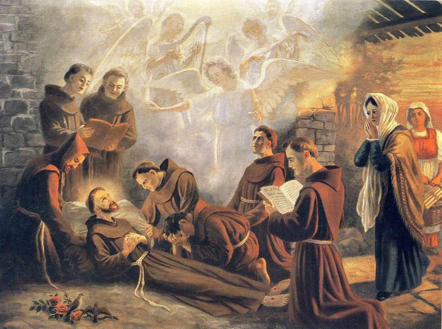 Pintura do momento da partida de São Francisco para o Reino do Céu.
