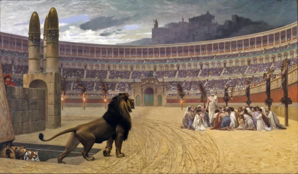 """""""A última oração dos Mártires Cristãos"""" - pintura de Jean-Léon Gérôme."""