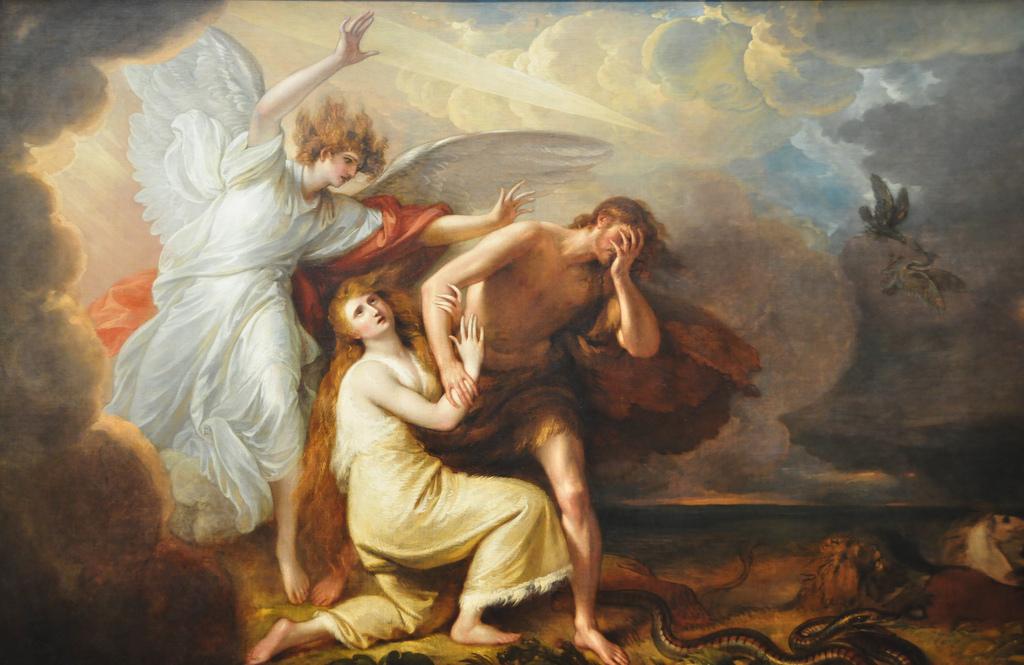 Adão e Eva cometem o primeiro pecado e são expulsos do Paraíso.