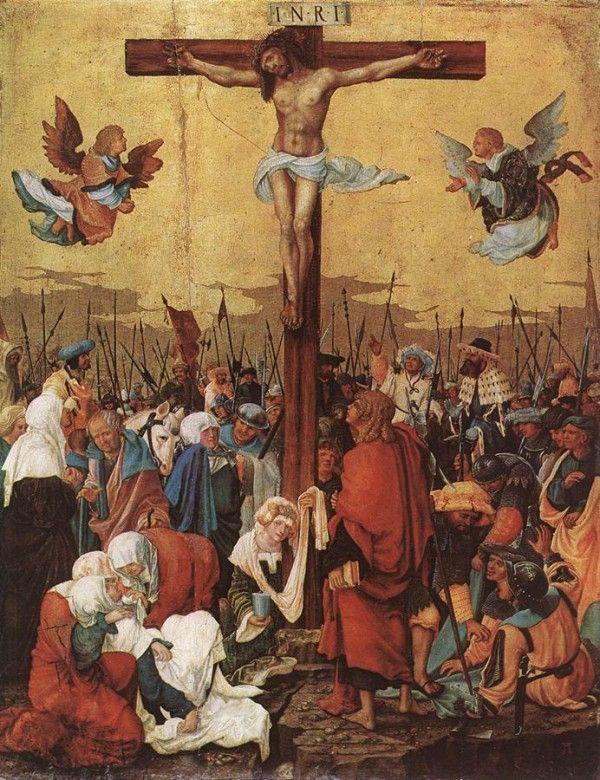 Multidão em volta de Jesus crucificado na cruz
