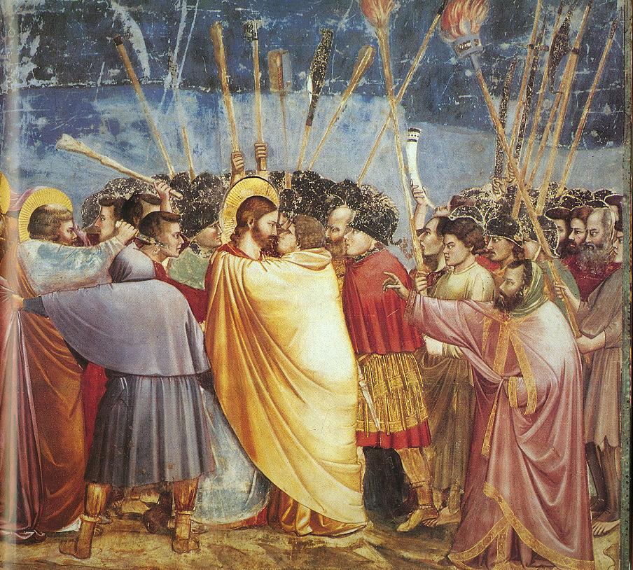 Nosso Senhor é traído por Judas com um beijo.