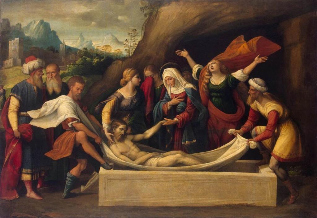 Nosso Senhor sendo depositado no sepulcro.
