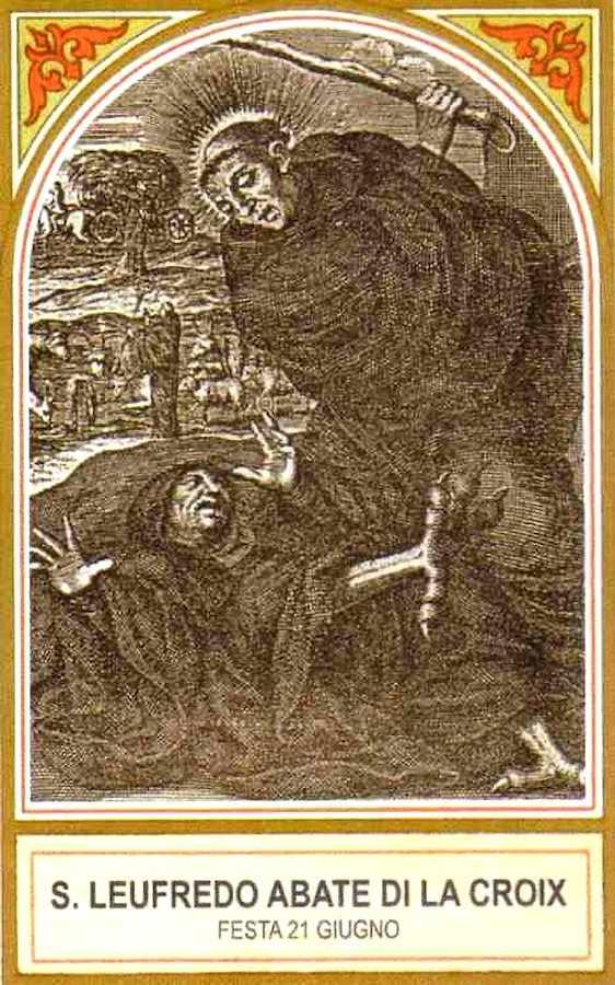 São Leofredo surra diabo que fingia ser monge, santinho italiano