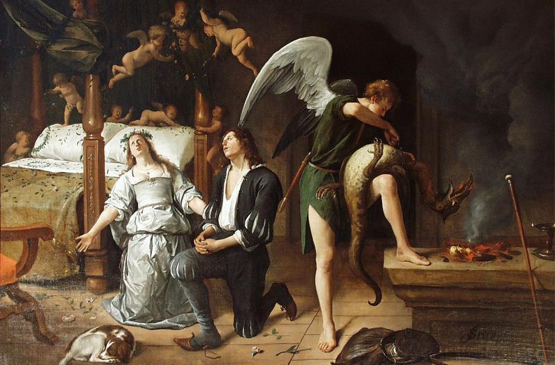 Tobias e Sara rezando e pedindo as graças para Deus.