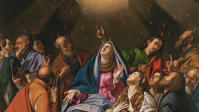 Línguas de fogo são lançadas sobre os Apóstolos e Nossa Senhora, e todos ficaram cheios do Espírito Santo.