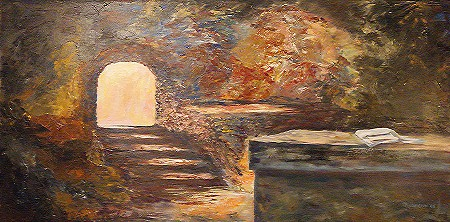 Pintura retratando o lenço dobrado sobre a mesa do sepulcro.