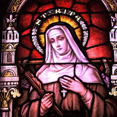 Vitral de Santa Rita de Cássia, Catedral de Santa Maria, Austin, Texas.