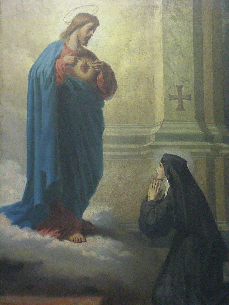 Nosso-Senhor-Jesus-Cristo-aparece-a-Santa-Margarida-Maria-Alacoque-para-revelar-ao-mundo-a-devoção-a-Seu-Sagrado-Coração.-768x1024