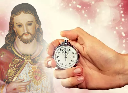 Sagrado Coração com relógio