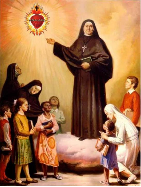 Santa Gertrudes Mostrando O belíssimo Coração de Jesus