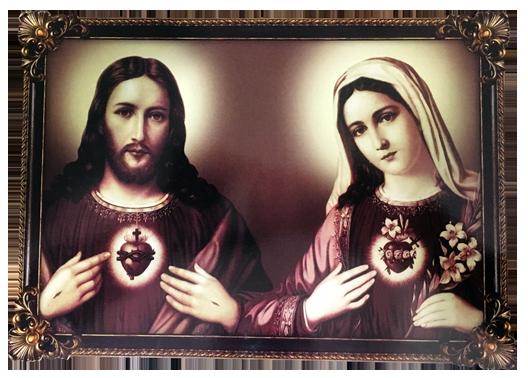 Estampa Sagrado Coração de Jesus e Imaculado Coração de Maria