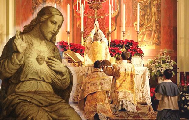 Sagrado Coração de Jesus e altar da Igreja no momento da Consagração da Hóstia na Santa Missa