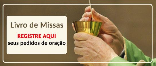 Livro de Missas com cálice e hóstia para registrar orações