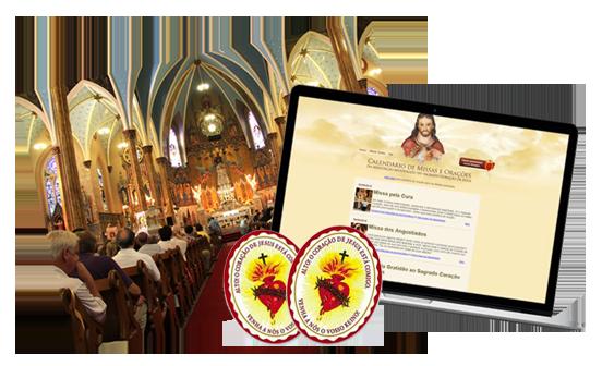 Famílias do Sagrado Coração de Jesus - Imagem de uma Missa, um monitor e um Escudo do Coração de Jesus
