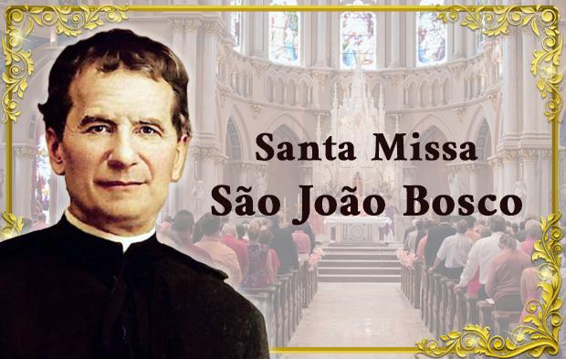 Imagem de Dom Bosco e de uma Missa na Igreja