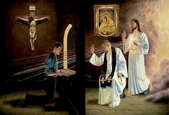 Confissão - Homem se confessando com Padre e Jesus ao fundo o absolvendo de seus pecados.