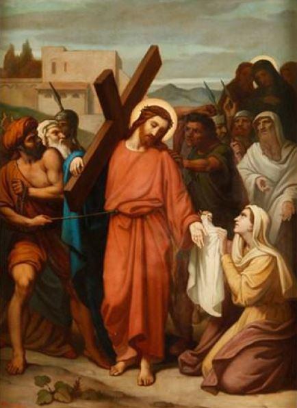 Via Sacra: 6ª Estação – Verônica enxuga a face de Jesus e sua Face é impressa numa toalha