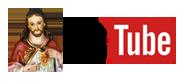 Sagrado Coração de Jesus com o logo do Youtube