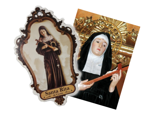 Quadrinho e Estampa de Santa Rita de Cássia no texto MISSA DA SEMANA: Santa Rita de Cássia pelas Causas Impossíveis