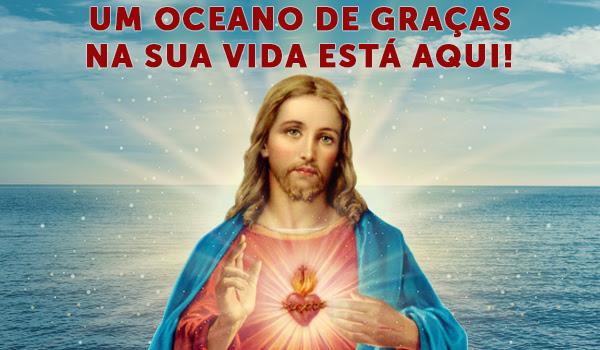 Sagrado Coração de Jesus com um oceano de fundo