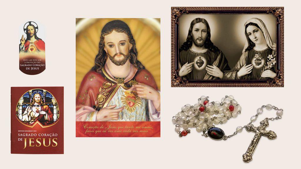 Estampa dos Corações de Jesus e Maria. Estampa do Coração de Jesus. Devocionário do Sagrado Coração de Jesus e o Terço da Divina Misericórdia.