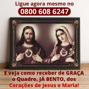 Estampa do Sagrado Coração de Jesus e do Imaculado Coração de Maria - Proteção eficaz contra o demônio