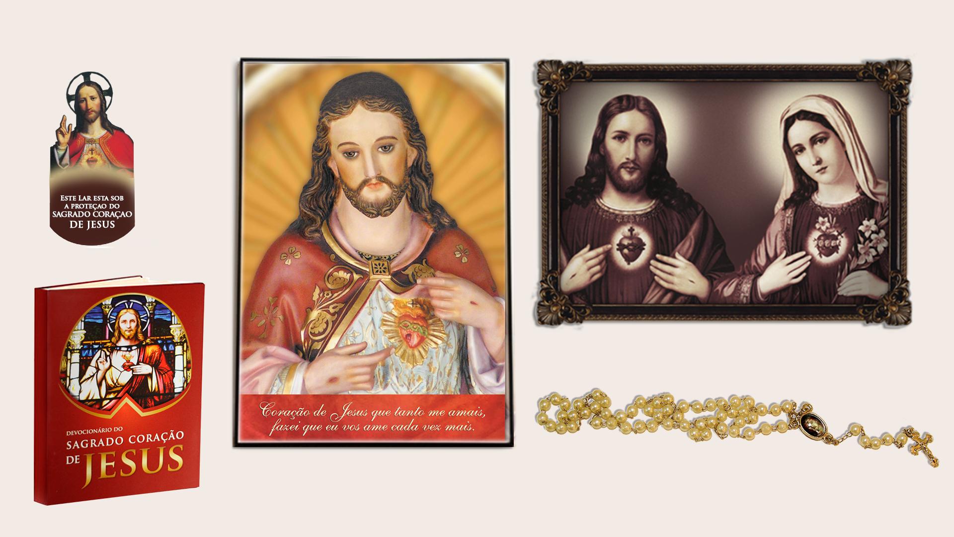 Estampa dos Corações de Jesus e Maria. Estampa do Coração de Jesus. Devocionário do Sagrado Coração de Jesus e o Terço das Chagas.